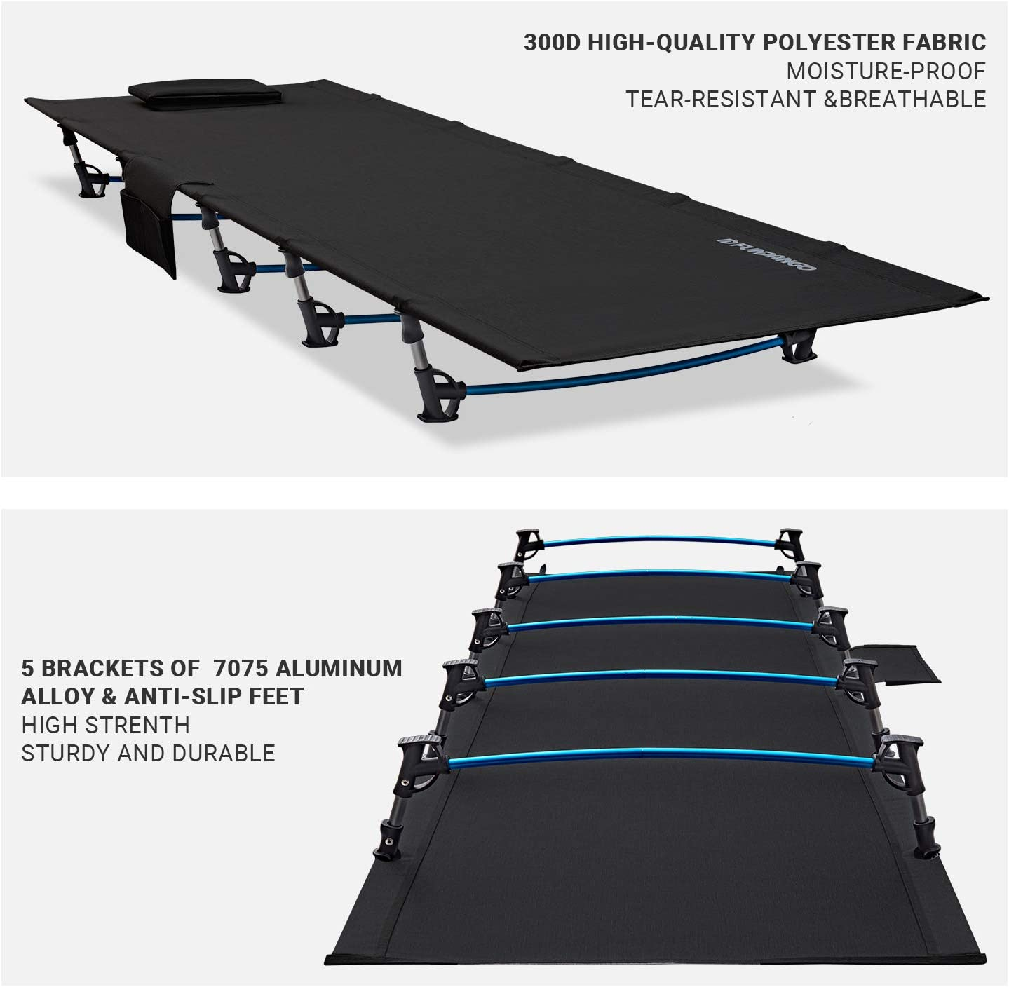 Travel Camping for Adult FUNDANGO Extra Long Ultralight Folding Compact Camping Cot Bed Outdoor Office Nap 78.7 x 27.1 x 6.7/'/' // 5lbs Backpacking Hiking Support 265lbs Side Pocket Indoor