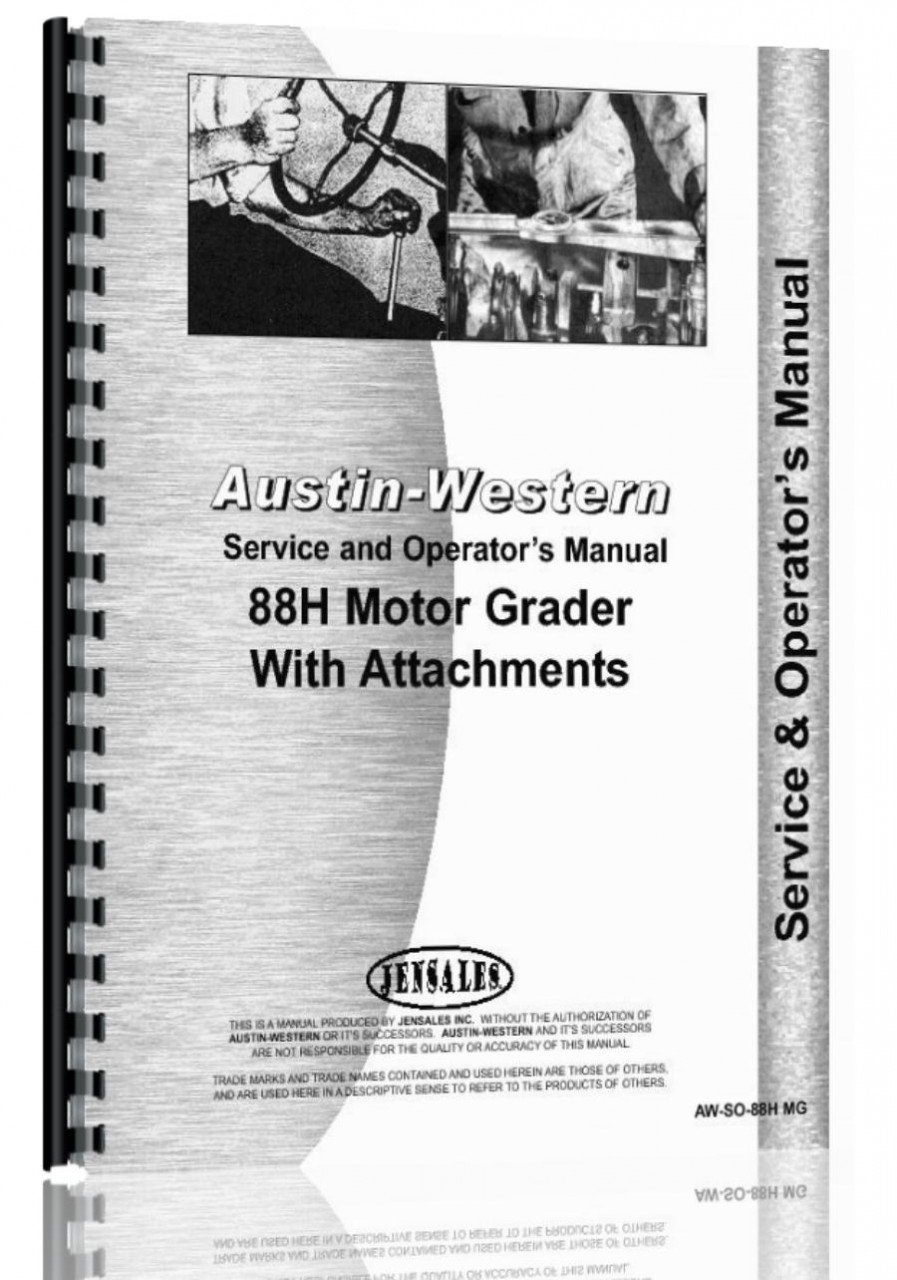 Austin Western 88H Grader Service & Operators Manual (SN# H88152 and Up) pdf epub