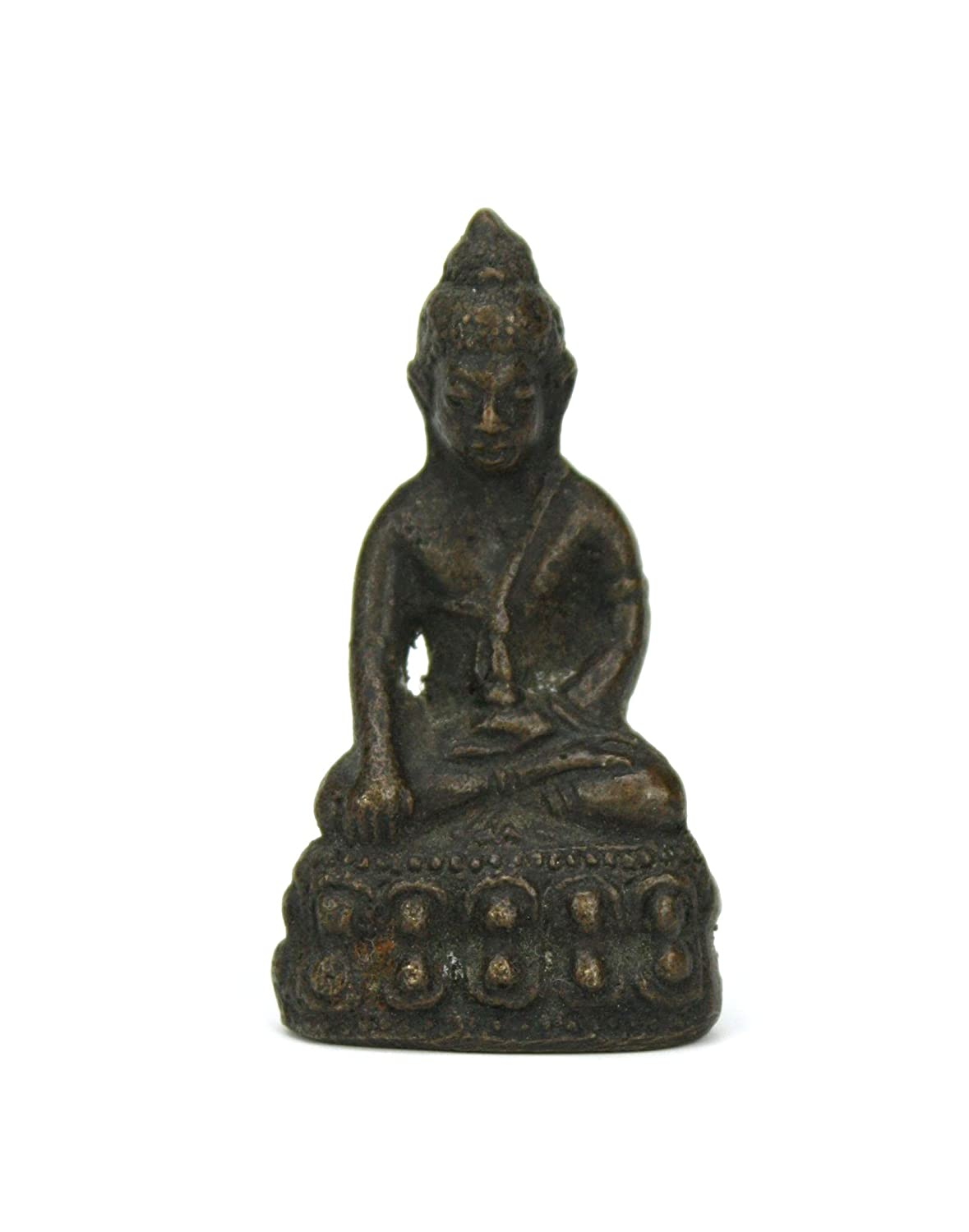 Authentic metal Buddha statue / amulet in antique bronze finish, approx 4.7cm high, IS Farang