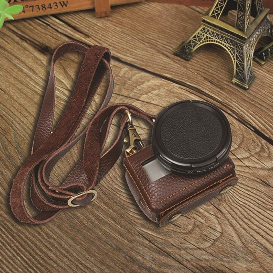 Allcecase fit for for GoPro HERO4 Litchi Texture Genuine Leather Protective Case with Sling Color : Black Black