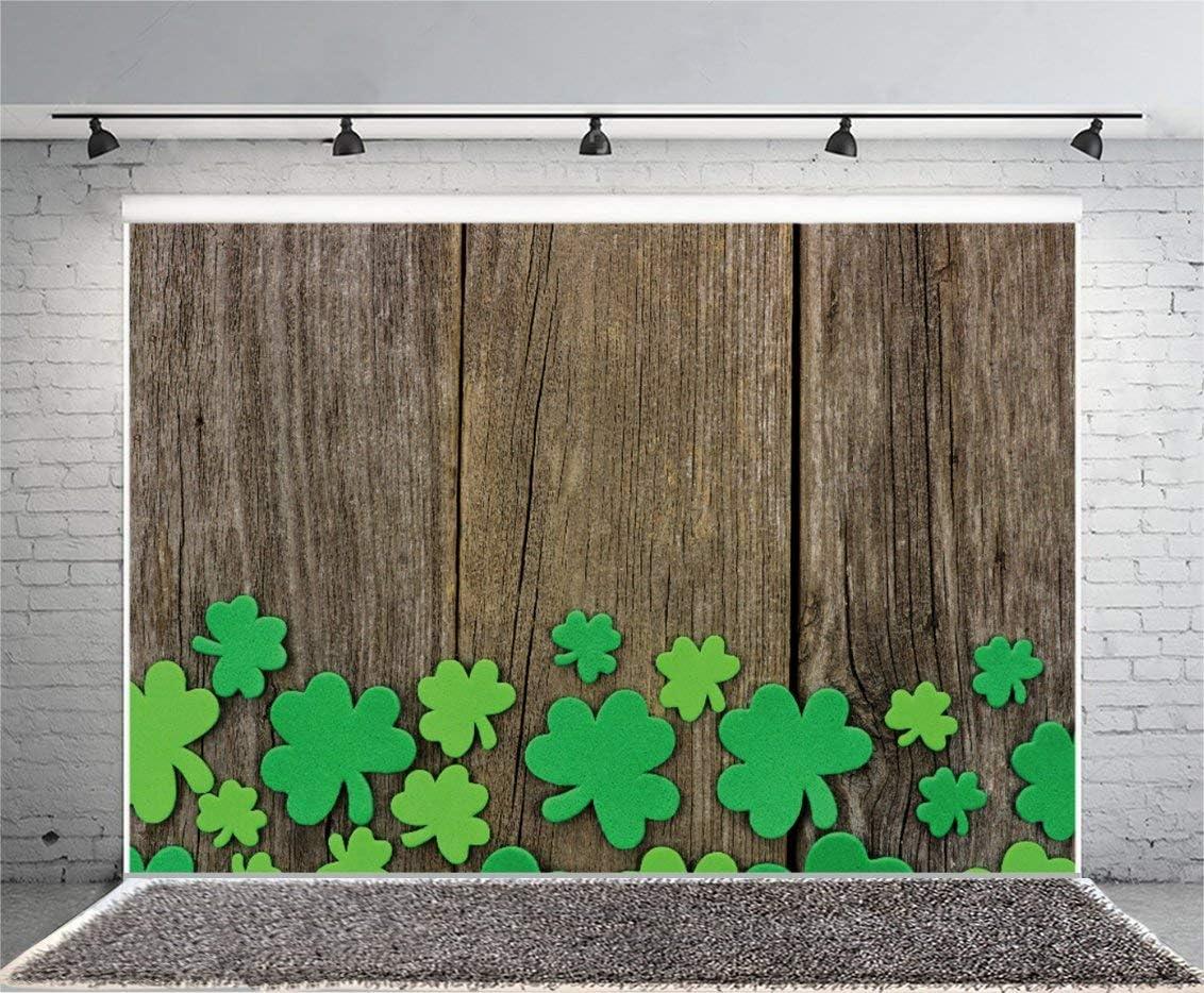 Vinyl 9X6FT Lucky Irish Shamrock Backdrop Green Clover Vintage Wood Board Happy St Patricks Day Photography Background Kids Adults Photo Studio Props