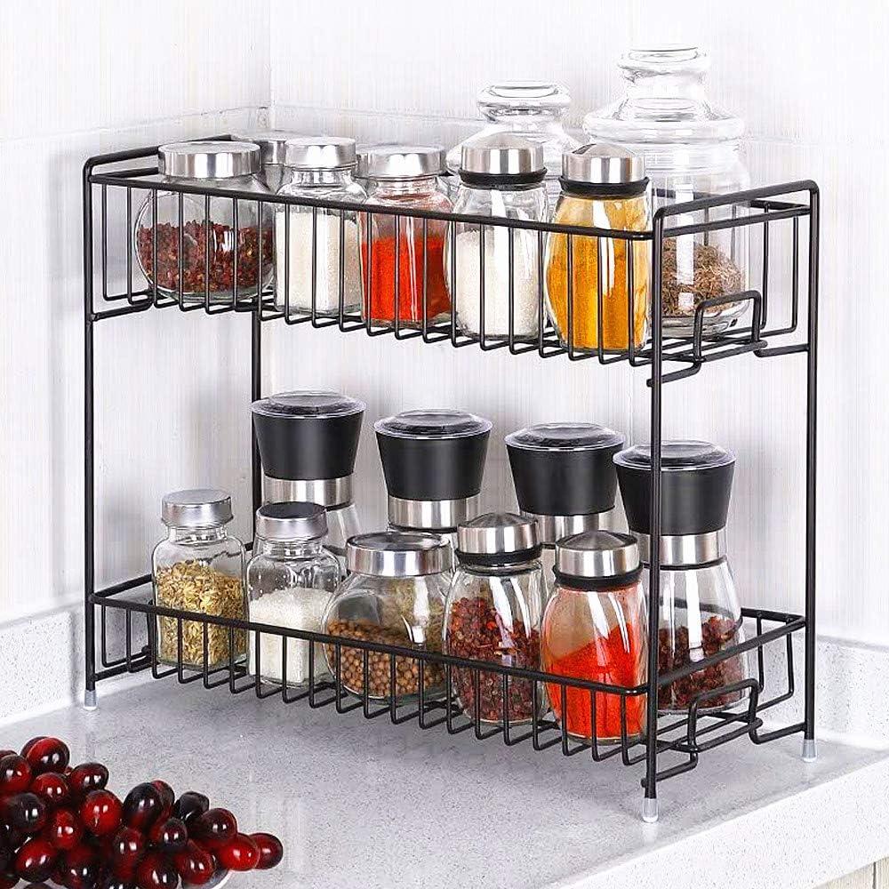 2 Tier Wall Hanging Kitchen Spice Holder Rack Her Jar Storage Shelves Organiser