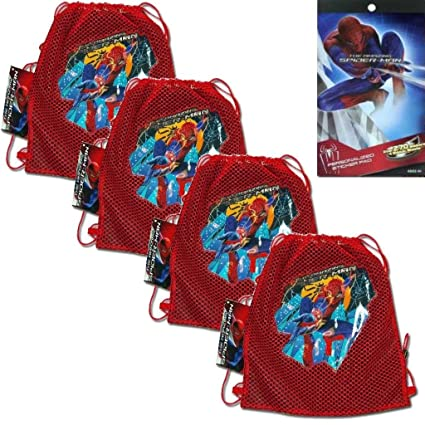 5-Piece Marvels The Amazing Spider-Man Mesh Sling Tote Bags - 4 The Amazing  Spider-man Mesh Front Sling Backpack Tote Party Favor Bags (10.5