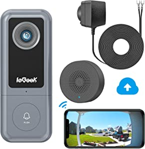 ieGeek WiFi Video Doorbell Camera(Wired), 2K Home Security Door Camera with Chime, Human Detection, 2-Way Audio, Cloud Storage, 167° Wide Angle, DC Adapter Included, Works with Alexa & Google Hub