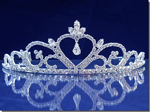 0ba7559b0137f2 Amazon.com: SC Bridal Wedding Tiara Crown With Heart and Three-Leaf Crystal  44708: Clothing