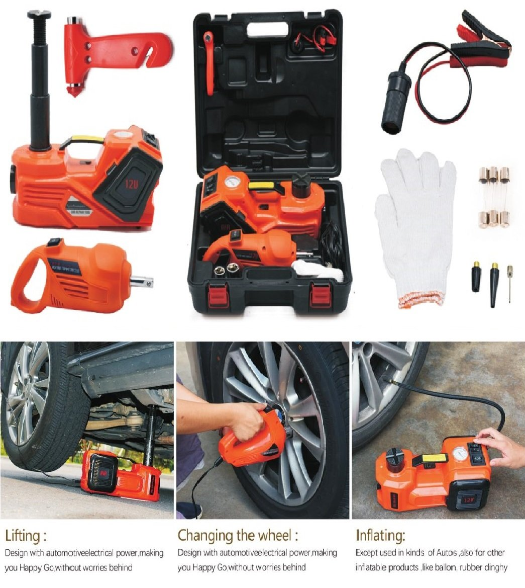 4 Set 1 for car ZSTT01 Electric Hydraulic Floor Jack and Tire Inflator Pump and LED Flashlight 3 in 1 Set with Electric Impact Wrench Car Repair Tool Kit for Car SUV 6600lb atliprime 12V DC 3.0T