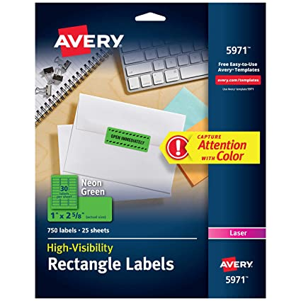 amazon com avery high visibility 1 x 2 5 8 inch fluorescent green