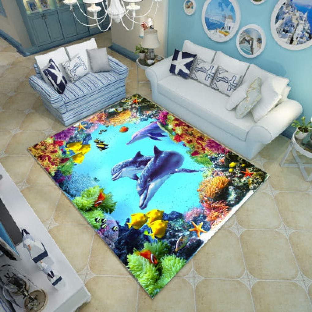 Chad Hope Multicolour Ultra-Thin 3D Carpet Mediterranean Dolphin Pattern Rugs Living Room Sofa Table Bedroom Floor Mat