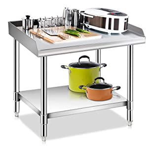 KITMA Stainless Steel Equipment Grill Stand with Undershelf for Restaurant - Heavy Duty Griddle Stand Table - 24x28 Inches