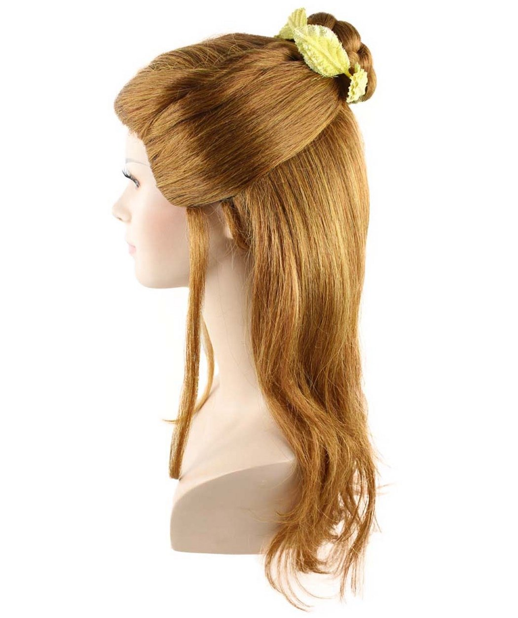 Cece Womens Belle Long Hair Curly Wigs Bun with Thin Side Tendrils for Cosplay Party Costume with Wig Cap, Brunette