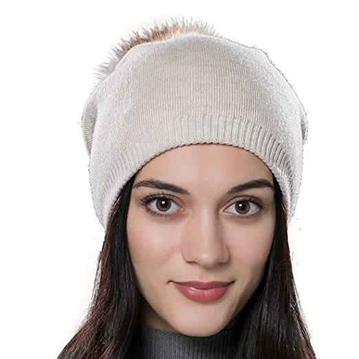 0f5d45e096906 Image Unavailable. Image not available for. Color  URSFUR Autumn Unisex  Wool Knit Beanie Cap with Fur Ball Pom Pom Winter Hat