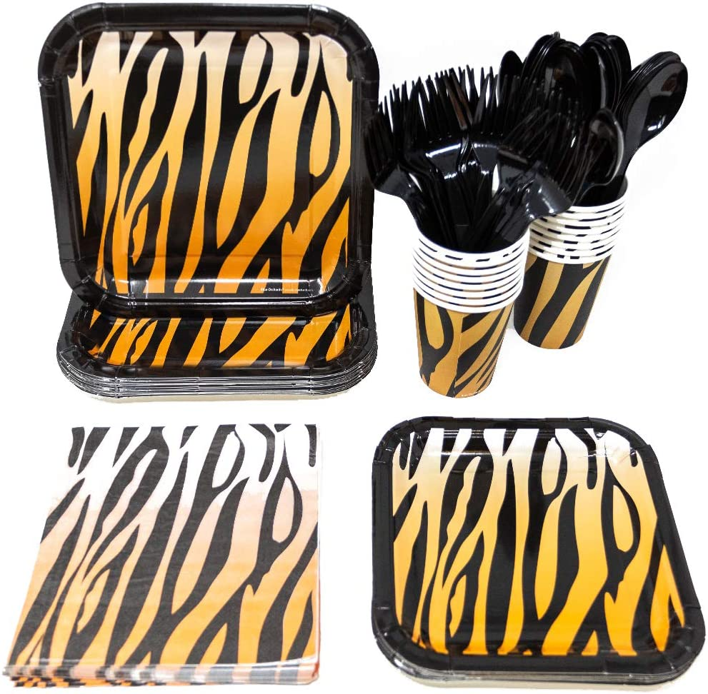 Tiger Stripe Party Supplies Pack (113+ Pieces for 16 Guests), Jungle, Safari Tableware, Paper Plates