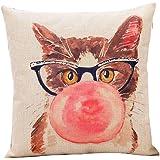 (ピーキー) Peigee クッション インテリア 枕カバー 北欧風 猫家族 猫ちゃん かわいい 綿麻製 クッションカバー 枕カバー45×45cm
