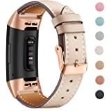 Mornex Strap Compatible Fitbit Charge 3 Strap/Charge 3 SE Leather band, Classic Adjustable Replacement Wristband Fitness Accessories Metal Connectors