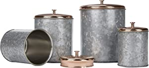 Mind Reader Double Wall Galvanized Set with Lid, Canisters, Food Storage Containers, Kitchen, Coffee, Cookies, Candy, Sugar, 4 Piece, One Size, Silver/Gold