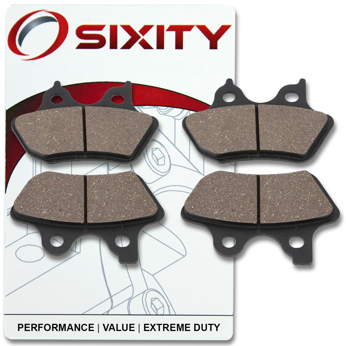 4. Sixity Front Ceramic Brake Pads 2000-2006 Harley Davidson FLHTCUI Electra Glide Ultra Classic Set Full Kit Complete
