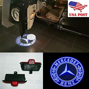 2PCS Custom LED Door Courtesy Puddle 3D Laser AMG Logo Step Ghost Shadow Projector Lights Lamp for Benz A-Class//New C-Class FlexDin Car Door Logo Lights No-Drill