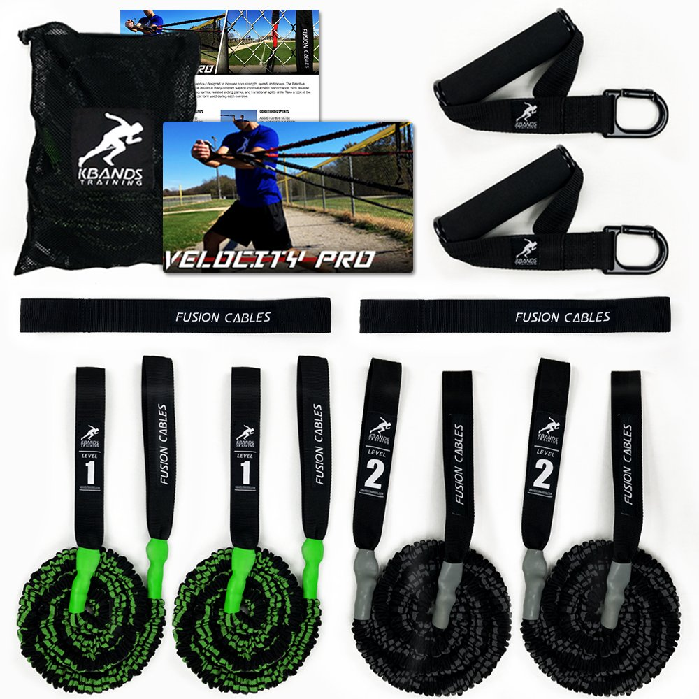Kbands Fusion Cables Velocity Trainer (Baseball - Softball Resistance Arm Bands for Strength and Velocity) (Beginner 13 Years or Younger) by Kbands Training