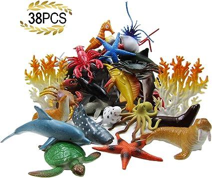 Ocean Sea Animal 52 Pack Assorted Mini Vinyl Plastic Toy Set Realistic Under The