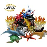 Action Figures Sea Animal Figures Animal Toys 38pcs Mini Sea Animal Toys Set Realistic Animal S Jade White