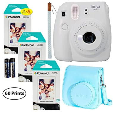 Fujifilm Instax Mini 9 Instant Camera (Smokey White), 3X Twin Pack Instant Film (60 Sheets) with Groovy Case Bundle