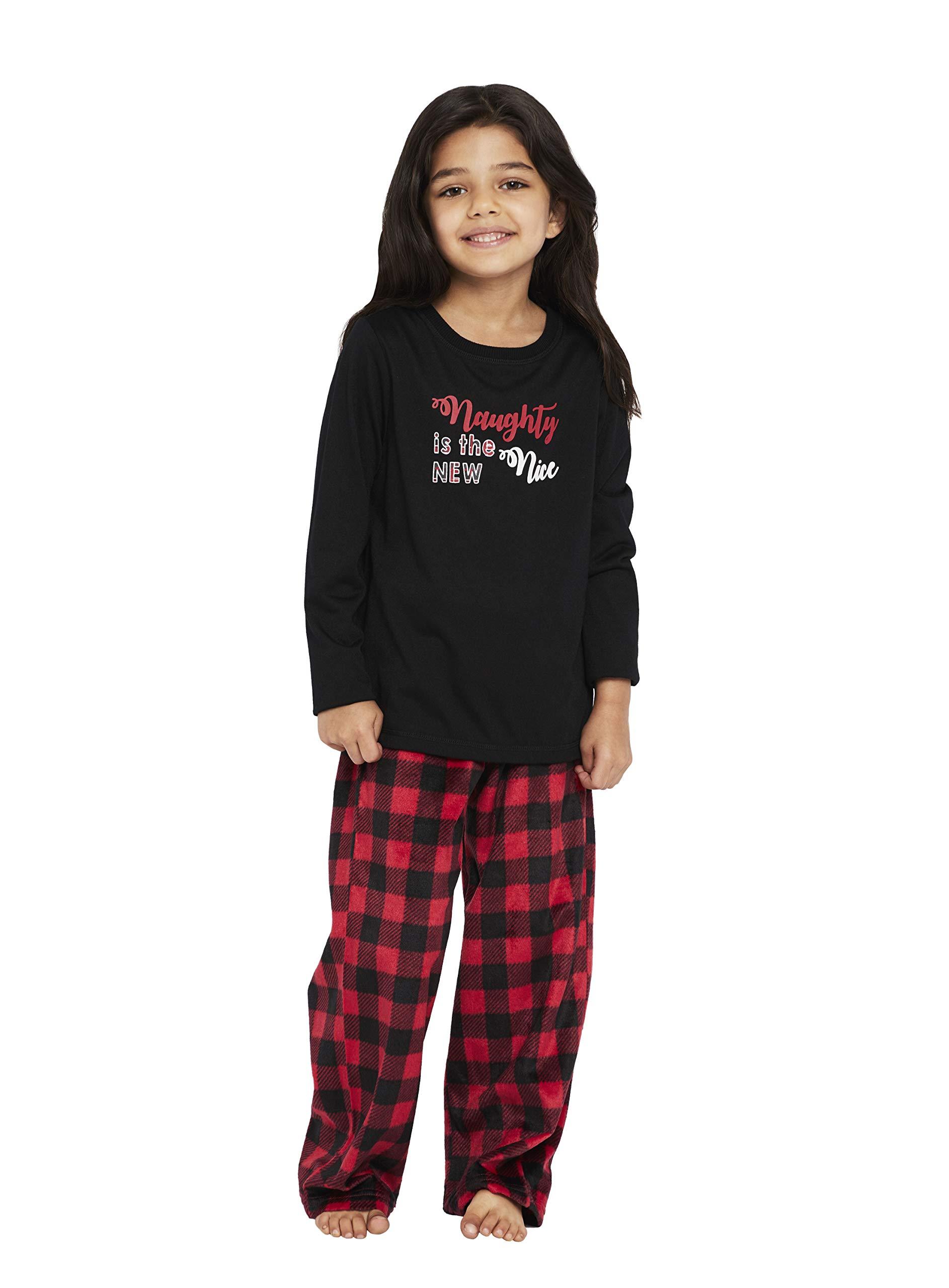 Karen Neuburger Girls' Little Family Matching Christmas Holiday Pajama Sets PJ, Buffalo Plaid red Cherry/Black Combo, Kid M by Karen Neuburger (Image #3)