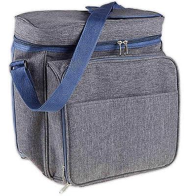 HomeEssentials 13-Piece Insulated Picnic Backpack Tote in Heather Grey/Blue : Garden & Outdoor
