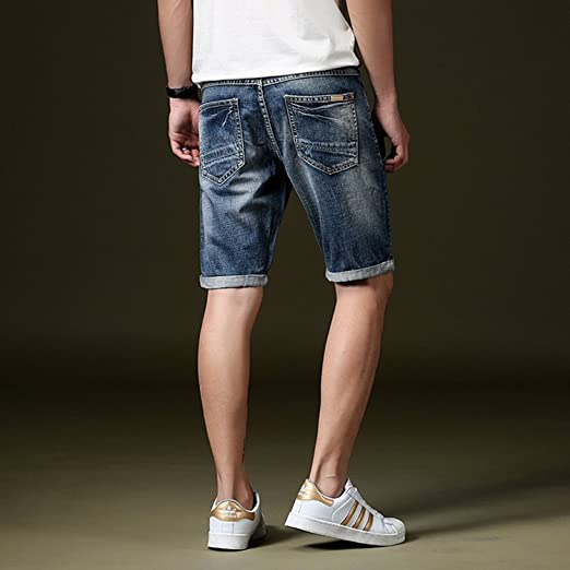Minetom Mens Summer Casual Hole Ripped Stretch Roll Up Denim Shorts Bermuda  Breathable Frayed Cuffed Distressed Short Jeans Pants: Amazon.co.uk:  Clothing