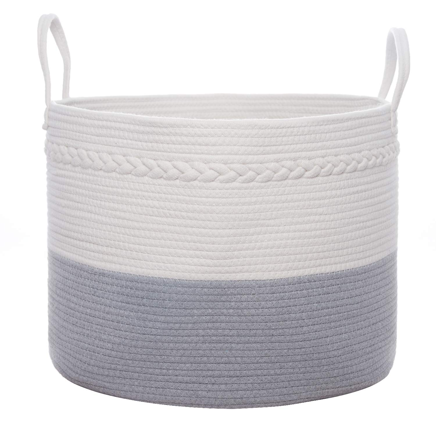 "Large Cotton Rope Basket, 20"" x 14"" Laundry Blanket Storage Basket with Easy-Carry Sturdy Handles and Decorative and Braid, Baby Nursery Bin for Home Décor and Organizing"
