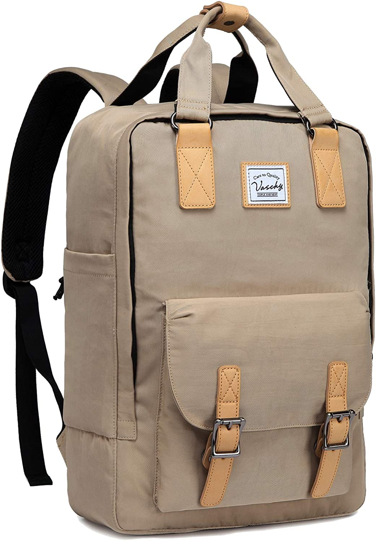 Backpack for Men and Women,VASCHY Vintage 15in Backpack Water-Resistant School Backpack