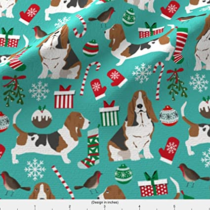 spoonflower basset hound fabric basset hound christmas design xmas holiday christmas fabrics cute holiday xmas designs