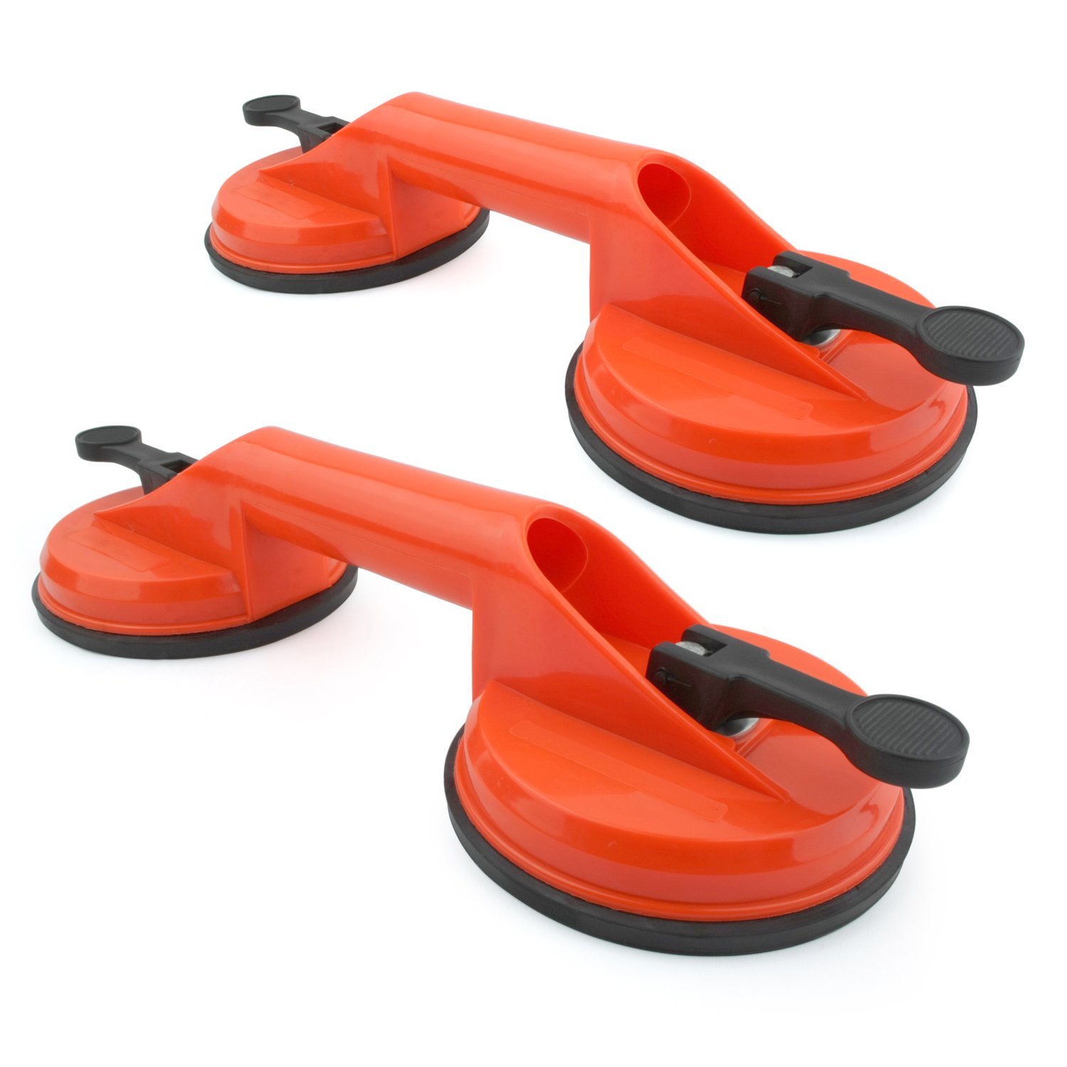 Incutex 2x double suction pad dual suction cups Heavy Duty Suction Cups glass lifter glass suckers, 100 kg lifting capacity – orange 100 kg lifting capacity - orange