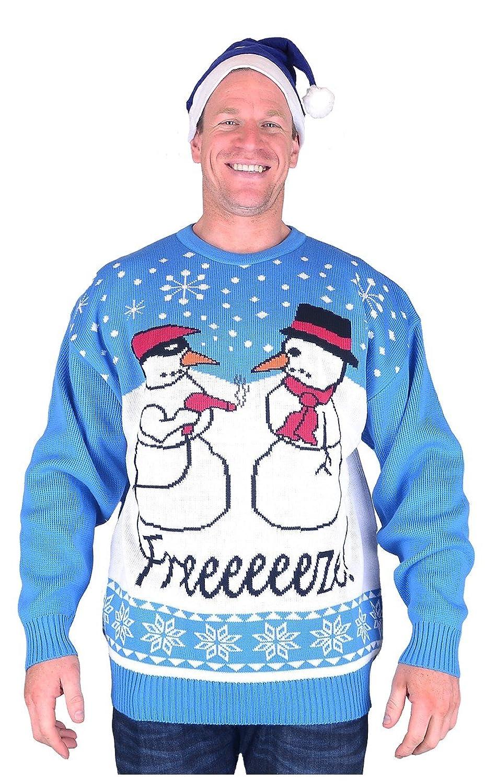 Big Mens Freeze Brooklyn Scenes Christmas Jumper Hat Set 2xl 3xl 4xl 5xl