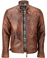 Mens Real Soft Leather Antique Washed Tan Rust Brown Vintage Zipped Smart Casual Biker Jacket
