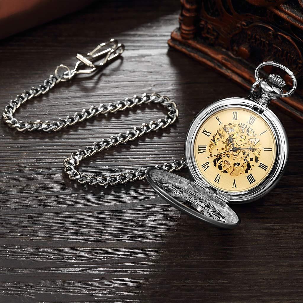 Wyx fickur med kedja, vintage klassisk snidad ihålig mekanisk stor vändning, som fars dag/äldre gåva/årsdag herrklocka WTR c