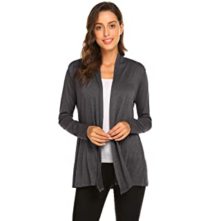 Newchoice Women's Open Front Long Cardigans Casual Long Sleeve Lightweight Cardigan Sweaters All Seasons (Dark Grey, XL)