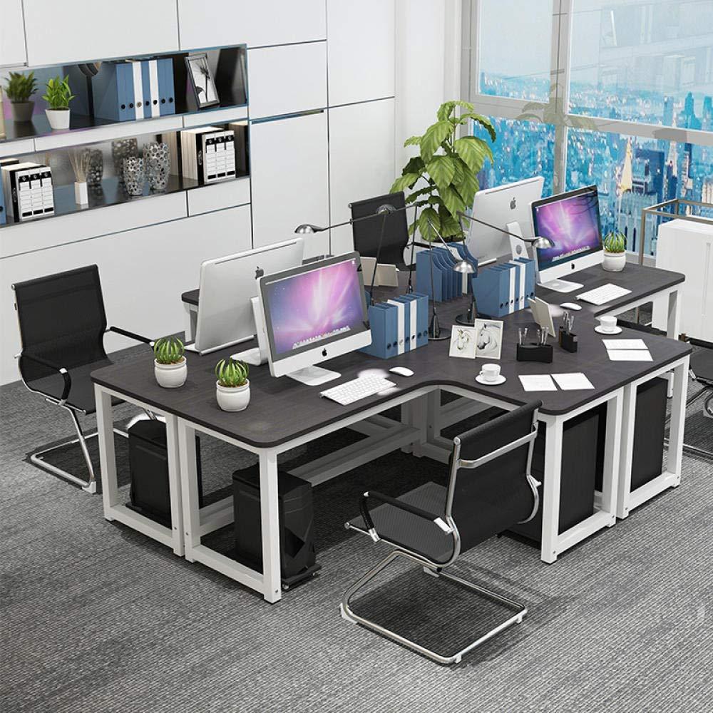 a forma di L scrivania ad angolo Scrivania angolare angolare per computer per la casa per imparare e scrivere 120 * 120 * 74 Cornice bianca e nera.