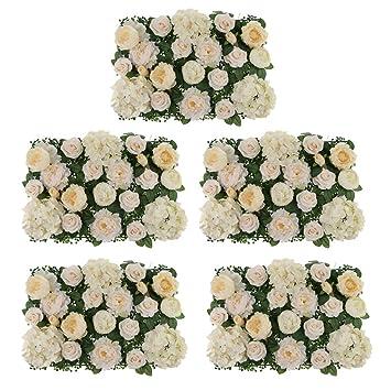 10 Silk Hydrangea Rose Peony Flower Wall Panel Wedding Venue Decor Champagne