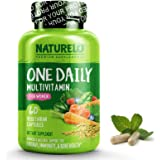 NATURELO One Daily Multivitamin for Women - Best for Hair, Skin, Nails - Natural Energy Support - Whole Food Supplement - Non-GMO - No Soy - Gluten Free - 60 Capsules | 2 Month Supply