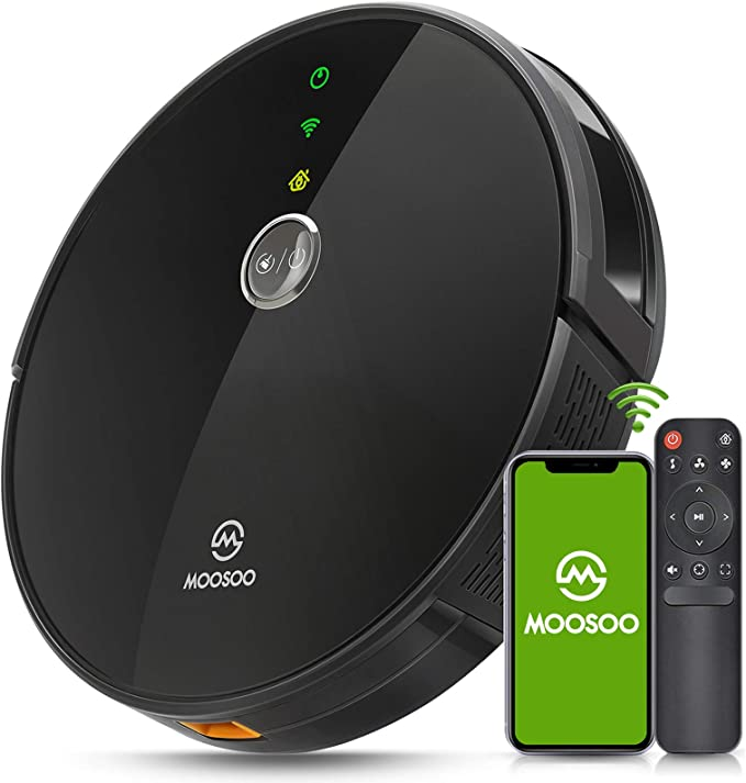 MOOSOO Robot Vacuum - Wi-Fi Connected, 2000Pa Suction, Smart Gyroscope Navigation, Works with Alexa & Google Assistant, Quiet, Super-Thin Robotic Vacuum Cleaner, Ideal for Pet Hair,Carpets,Hard Floors   Amazon