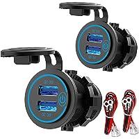 [2 Pack] 12V USB-Uitgang, Quick Charge 3.0 Dual USB-Stopcontact Met Aanraakschakelaar, Waterdichte 12V/24V USB-Pplader…