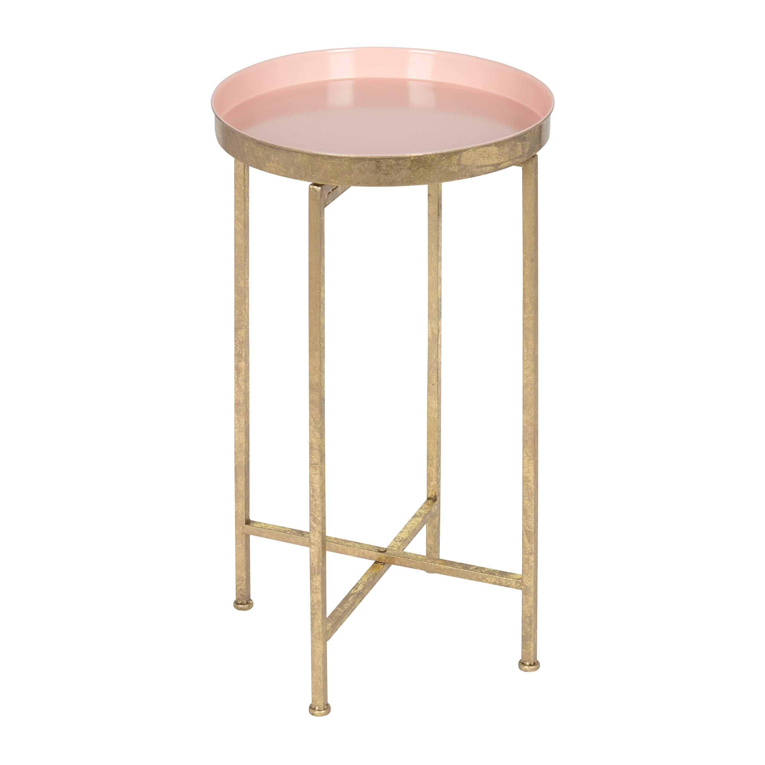 Kate and Laurel 212374 Celia Round Metal Foldable Tray Accent Table, 14x14x25.75, Gold/Pink by Kate and Laurel