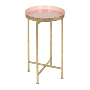 Kate and Laurel 212374 Celia Round Metal Foldable Tray Accent Table, 14x14x25.75, Gold/Pink