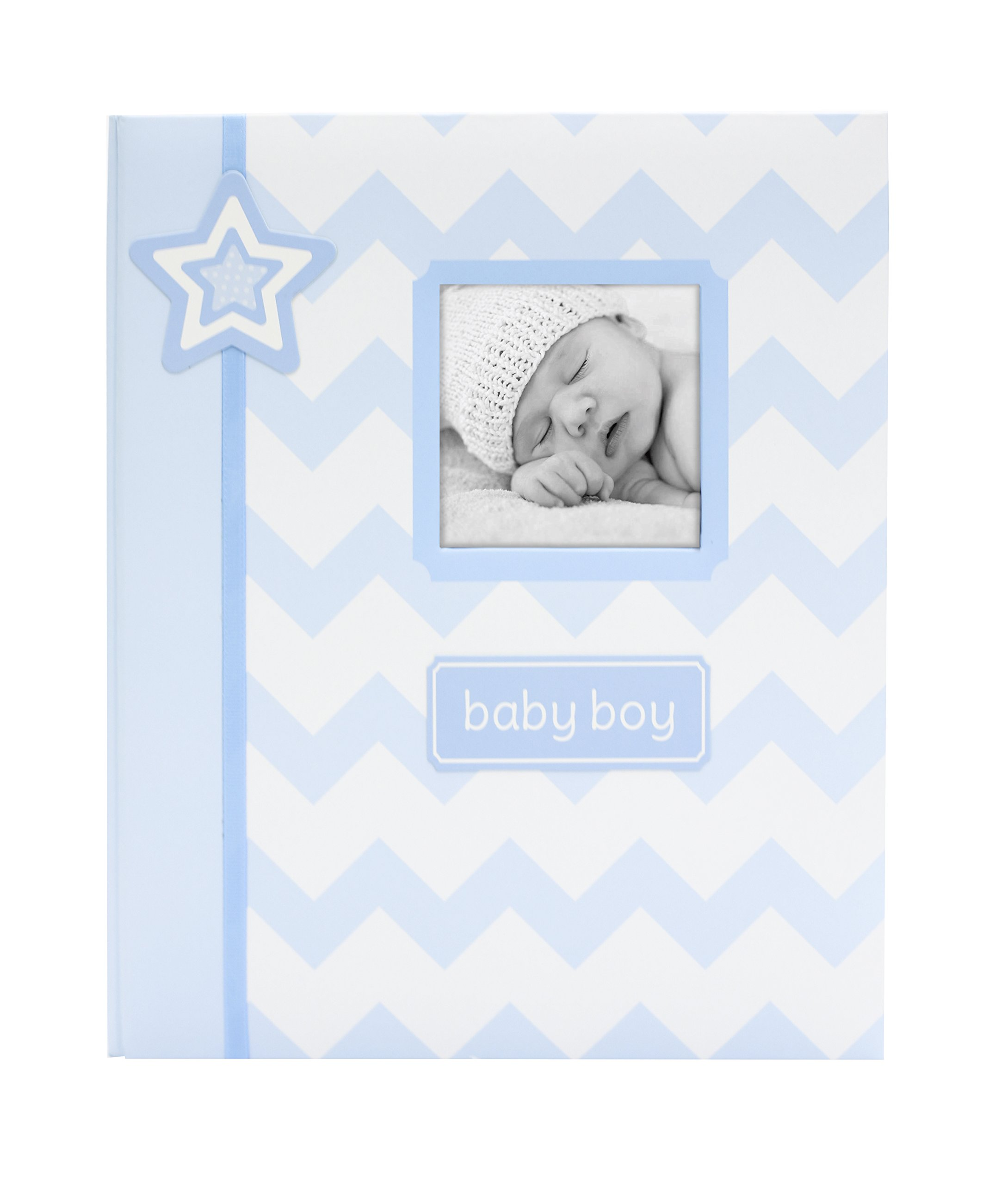 Lil Peach Chevron Baby Memory Book, Blue - A Perfect Baby Shower Gift