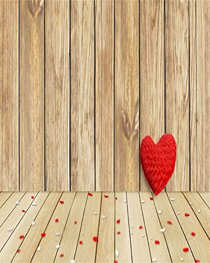AOFOTO 4x5ft Love Heart On Wooden Board Photography Backdrop Valentines Day Background Blurry Confetti Rustic Wood