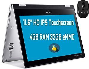 "Flagship Acer Spin 311 2 in 1 Chromebook Laptop 11.6"" HD IPS Touchscreen MediaTek MT8183 Octa-Core Processor 4GB RAM 32GB eMMC USB-C Bluetooth WiFi Win10 + iCarp Wireless Mouse"