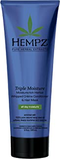 product image for Hempz Triple Moisture-Rich Herbal Whipped Creme Conditioner and Hair Mask for Women and Men, 9 oz. - Premium, Natural Moisturizing Conditioners to Repair Dry, Damaged Hair - Scented Hair Care , White