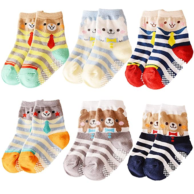 cf026ee33f80d 6 Pairs Baby Non Skid Ankle socks Toddler Cartoon Bear Cotton Anti Slip  Stripes Sock With Grip For 12-36 Months