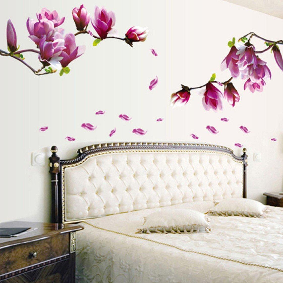 Vovotrade Autocollant Mural frais Nature Magnolia Fleur Decal amovible mur PVC Sticker Home Decor