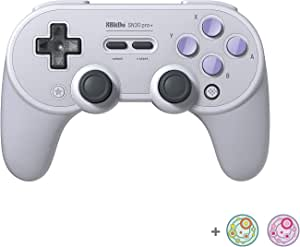 8Bitdo SN30 Pro+ Bluetooth Controller for Switch, PC, macOS, Android, Steam and Raspberry Pi with Thumb Stick Grips Cap (SN Edition)